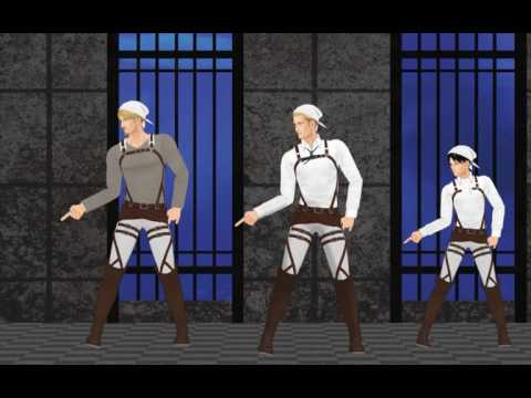 SnK MMD Talk dirty to me Erwin, Levi, Mike