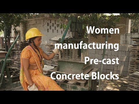 How women are engaged in manufacturing Pre-cast Concrete Hollow Blocks