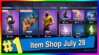 Fortnite Item Shop Takara, Doggo and Sunbird Skins! July 28th, 2019 (Fortnite Battle Royale)