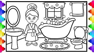 How to Draw a  Bathroom for Kids 💜 Doll House Coloring Pages 💜 How to Draw a Girl
