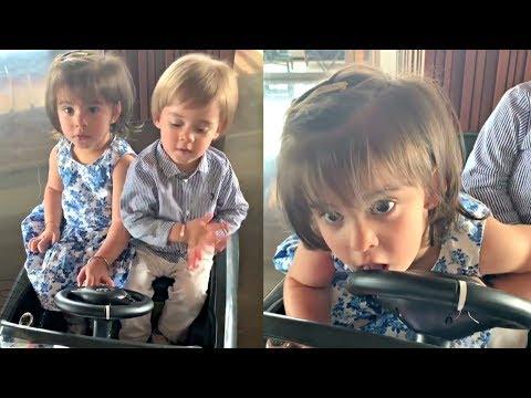 Karan Johar Teaching His Kids Yash And Roohi To Drive Car