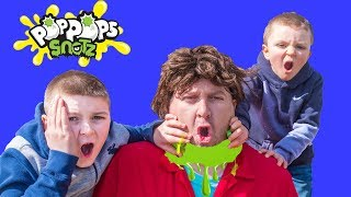 Little Heroes find Pop Pops Snotz with Sketchy Mechanic featuring Mr. Engineer pretend play kids fun