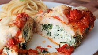 How To Make Spinach And Cheese Stuffed Chicken In A Rich Tomato Sauce