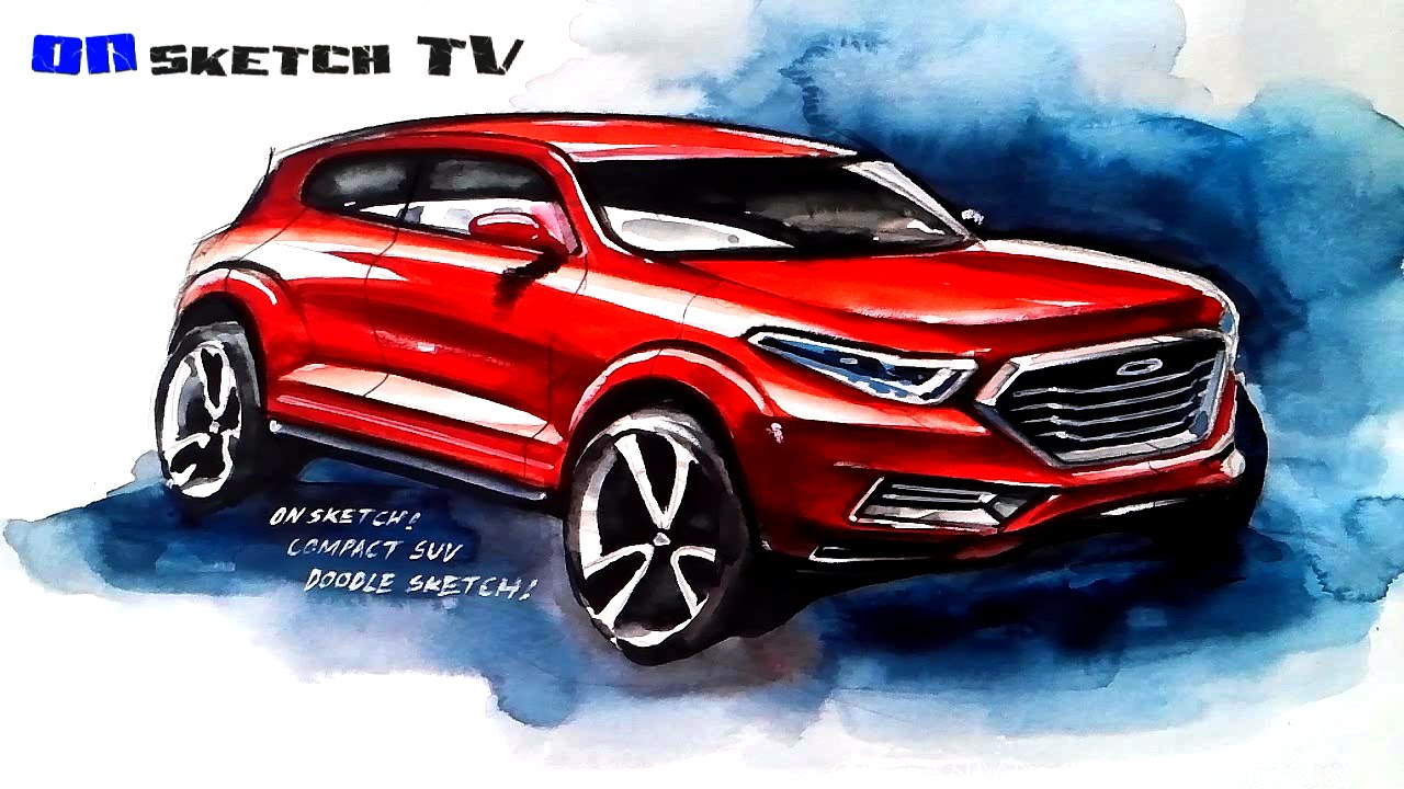 ???? Tv Sketch Compact Suv Concept Water Color Sketch
