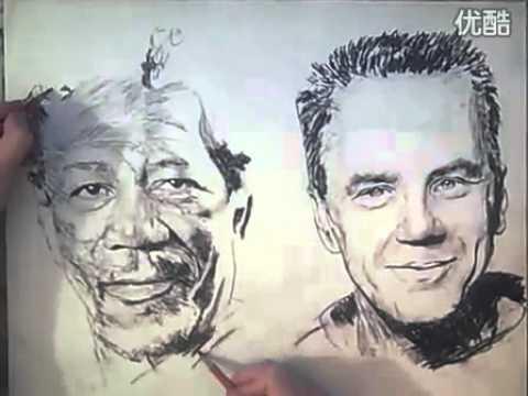 Họa sỹ vẽ bằng 2 tay cực kỳ điêu luyện - www.bocphet.org