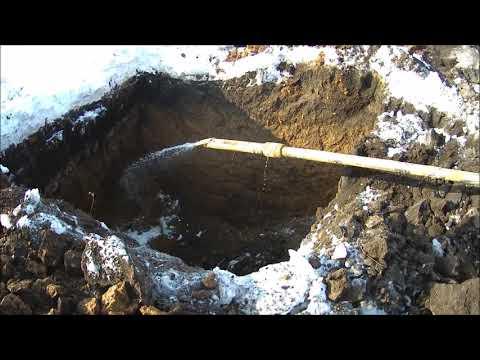 Климовский мост.Работа установки ГНБ,грунторез копает промёрзлый грунт.