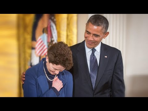 Accepting Sally Ride's Medal of Freedom from President Obama