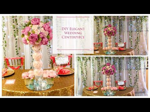 DIY Tall Elegant Wedding Centerpiece   DIY Wedding Centerpieces   DIY Tutorial  DOLLAR TREE!!!