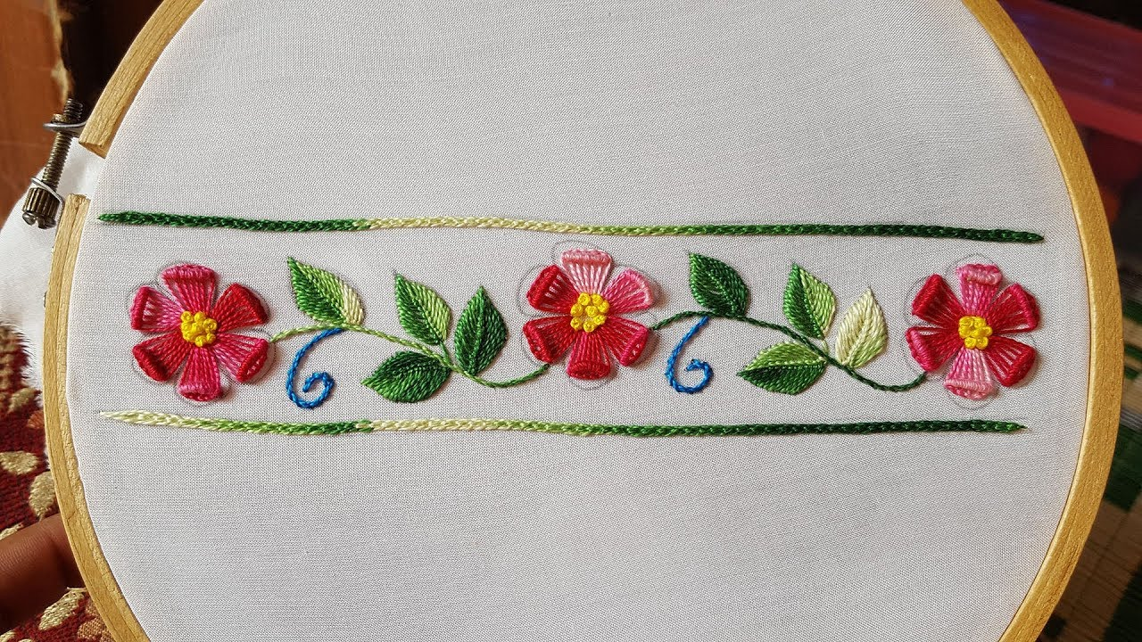 Hand Embroidery Border Daman Embroidery For Kurtis Kameez Blouse