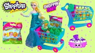 Shopkins Season 3 LARGE BLUE SHOPPING CART Blind Bag Micro Lite Queen Elsa Disney Frozen Unboxing