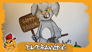 How to draw a killer rabbit graffiti character (Happy Easter)