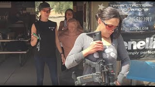 Michelle Rodriguez weapons training with Taran for Fate of the Furious.