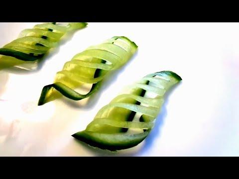 Оригинальное украшение из огурца - Карвинг овощей & Украшения салатов и блюд - Карвинг огурца