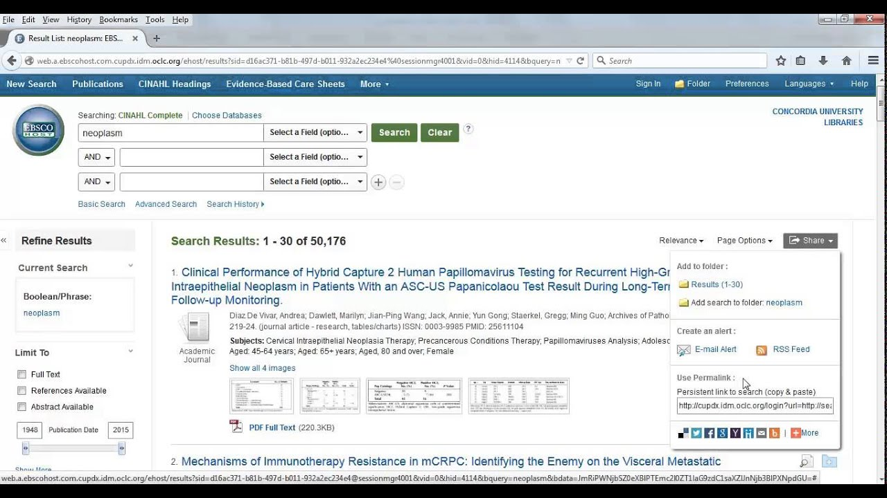 Ebsco - Finding & Using Permalinks - Research Guides at Concordia