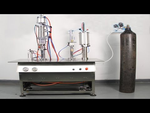 how to can oxygen gas from A to Z aerosol filling crimping machine instruction video آلة تعبئة الغاز