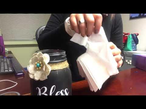 Refilling a mason jar tissue dispenser with Kleenex Ultra Soft tissues