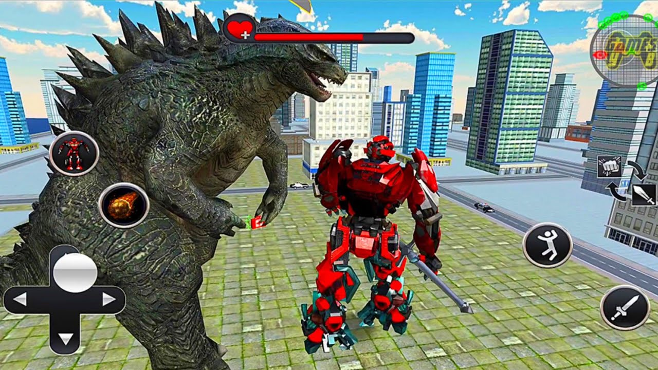 Download Mecha Robot Vs Godzilla Monster - US Police Transform Robot Cop Wolf Attack - Android Gameplay