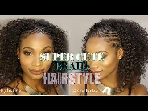 Easy Cute Half Braid Cornrow Half Curly Hair Makeover 6