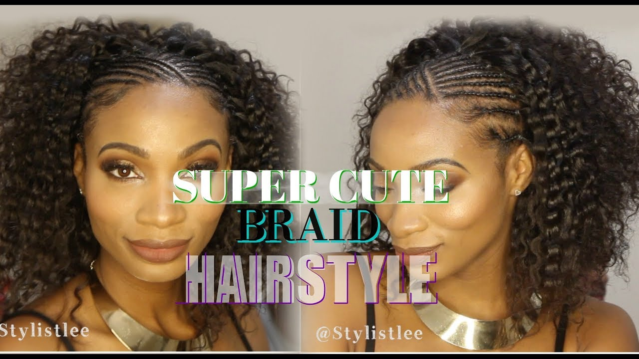 Easy Cute Half Braid Cornrow Half Curly Hair Makeover 6 Feat