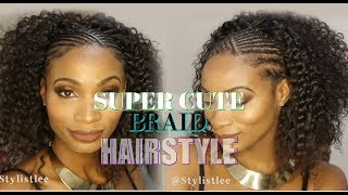 EASY Cute HALF Braid Cornrow HALF Curly | Hair Makeover #6| Feat. Young Head Beats | Los Angeles