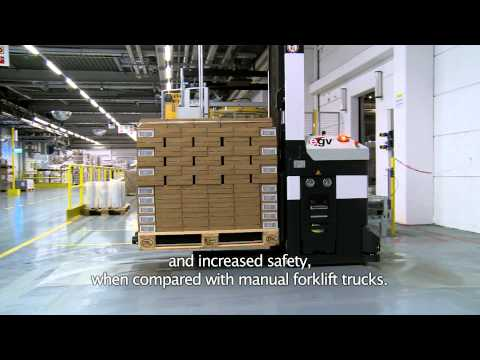Automated Guided Vehicle system (AGV) at L'Oréal Karlsruhe by Dematic NV