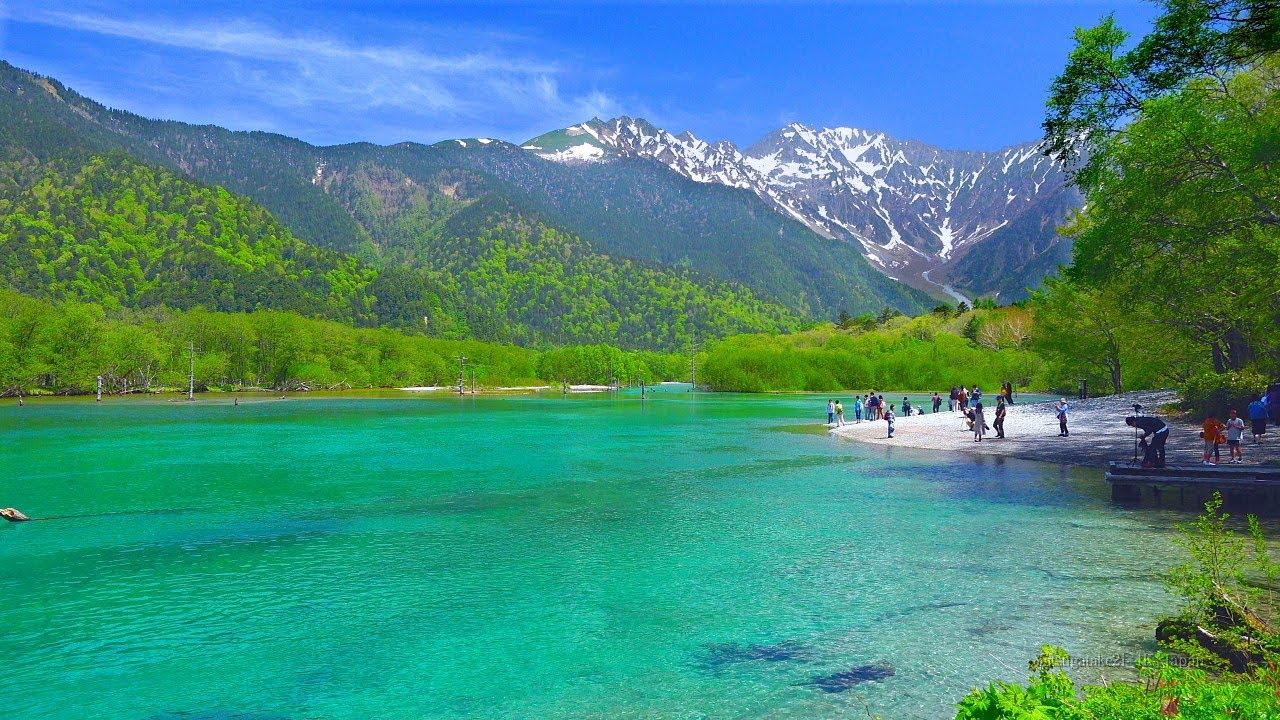 4K映像  絶景「新緑の上高地 大正池と穂高連峰」 5月下旬 自然音癒し風景 Japan Alps Kamikochi Fresh Green Nature Relaxation ストレス解消