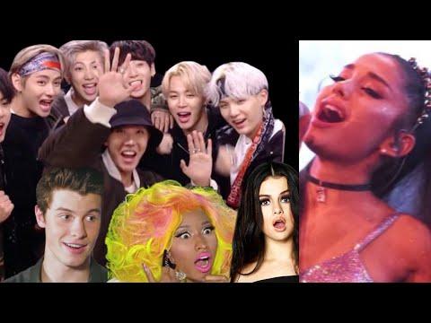 CELEBRITIES REACT TO ARIANA GRANDE (Bts,Nicki Minaj,Selena Gomez...)!