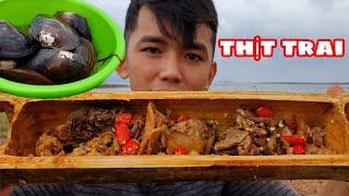 Thịt Trai Nướng Trong Ống Tre | Ẩm Thực Đồng Quê