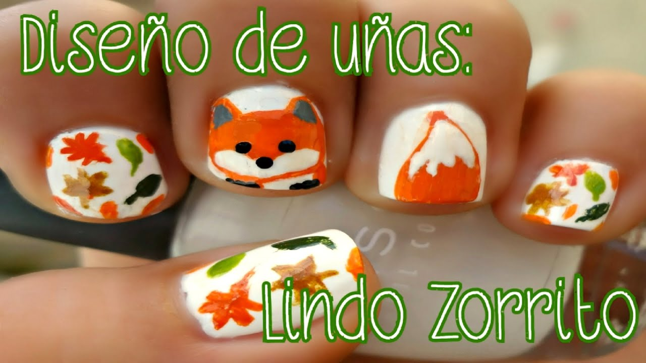 DISEÑO DE UÑAS - OTOÑO: LINDO ZORRITO (tutorial-facil) | Mirem ...