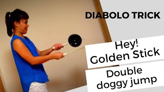 "diabolo tricks for beginners. ""Golden stick"" and ""double doggy jump"""