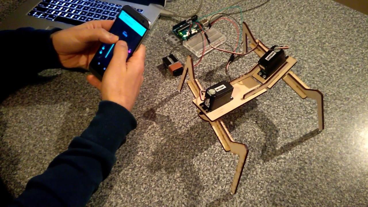 Legged two servo walking arduino robot controlled by