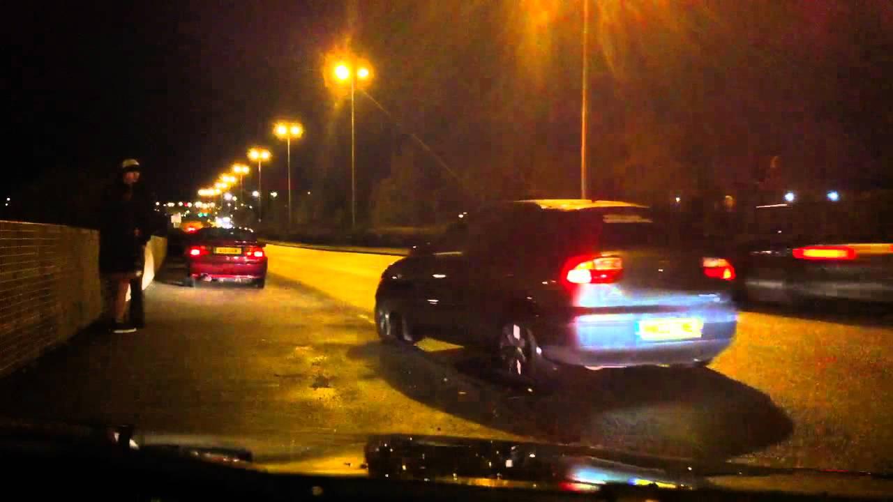 Birmingham uk Street Racing CRASH!! - YouTube