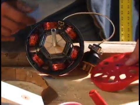 INDUCTION MOTOR DIY  Alternator 40 watt low 800 RPM Neodymium Motor Generator Conversion