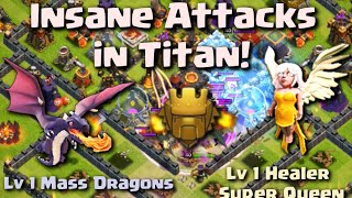 Clash of Clans - Crazy Level 1 Troops Killing Champ Titan League Players