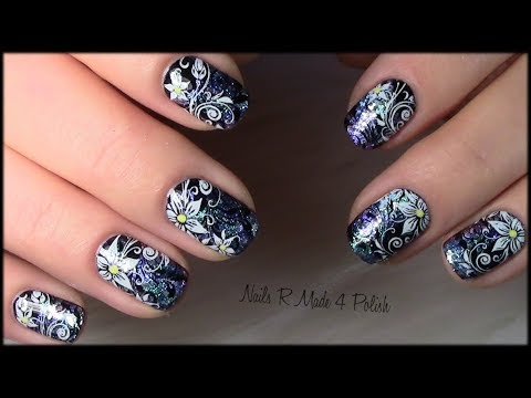 flower nail art design tutorial with nail polish  youtube