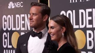Armie Hammer & Elizabeth Chambers Golden Globe Awards Fashion Arrivals (2018)