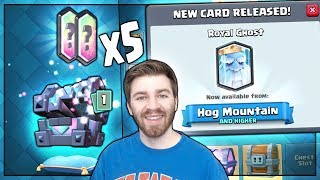 LAST ROYAL GHOST LEGENDARY HUNT & LEVEL 8 GAMEPLAY! | Clash Royale | x5 KINGS CHEST OPENING!