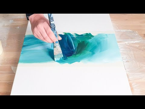 DIFFERENT!! Abstract Acrylic Painting Easy - Negative Space Triangle & Swirl - How to paint beginner