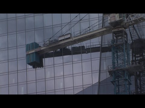 Wind pushes crane into new Hilton Downtown Cleveland