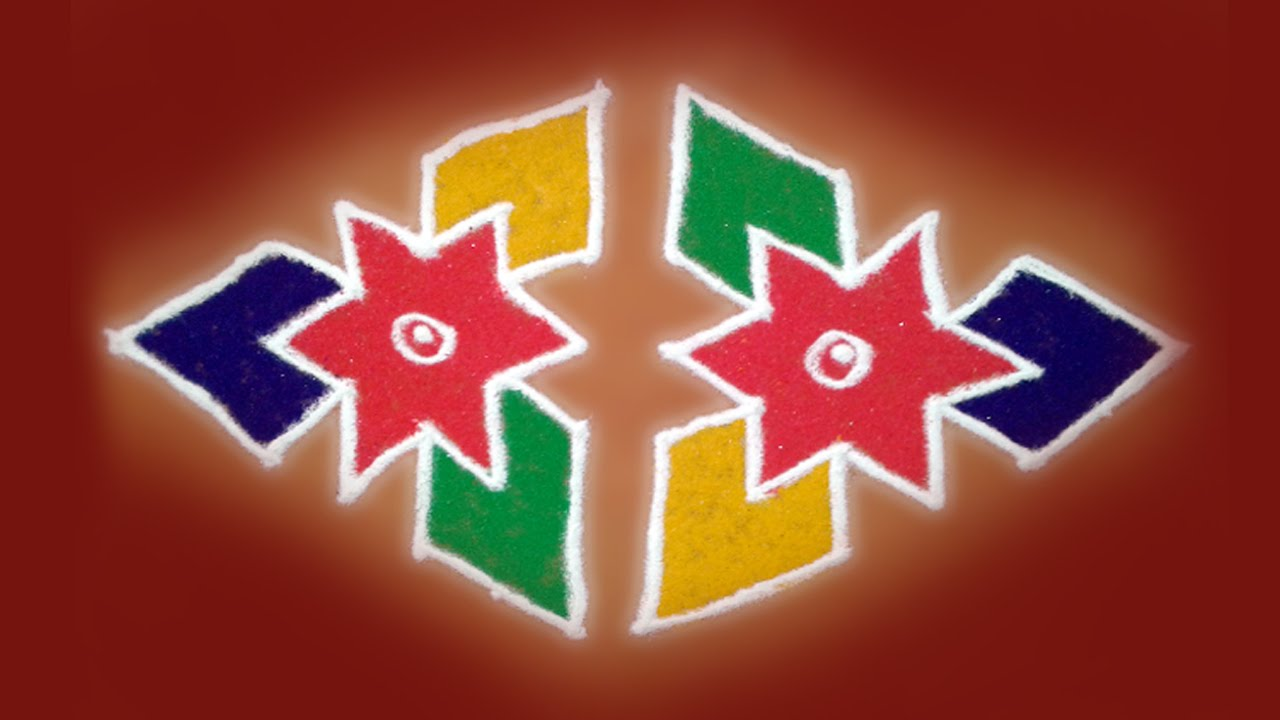 latest easy rangoli design with dots for diwali