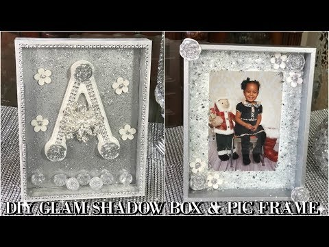 DIY DOLLAR STORE  GLAM SHADOW BOX AND PICTURE FRAME  DIY HOME DECOR IDEAS