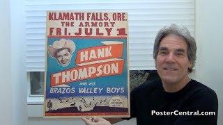 Hank Thompson 1950s Concert Poster – Classic Jumbo Window Card