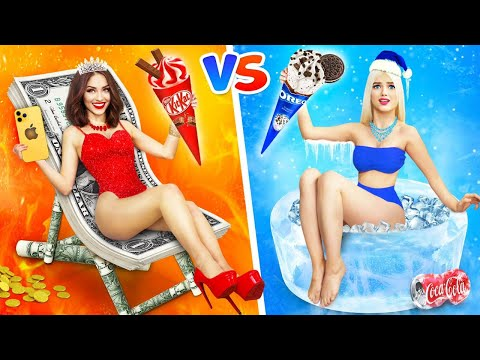 RICH HOT vs POOR COLD Girl || Hot VS Cold Challenge & Funny Situations by RATATA