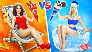 RICH HOT vs POOR COLD Girl    Hot VS Cold Challenge & Funny Situations by RATATA