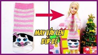 May đồ cho búp bê: may váy len mùa đông cực dễ/ How to Make Doll Outfit from just a Sock/ Ami DIY