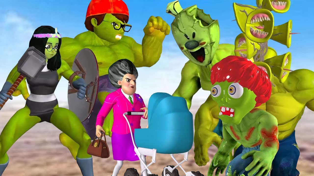 Scary Teacher 3D Giant Zombie vs Nick Hulk and She Hulk Rescue Miss T vs Siren head and Ice Scream 4