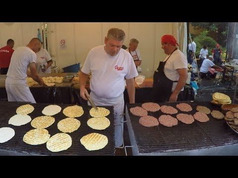 Serbia Street Food. Preparing 'Pljeskavica' and 'Sarma'