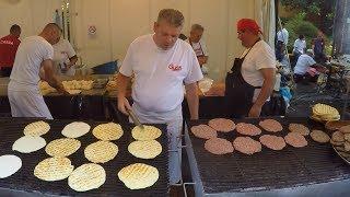 Serbia Street Food. Preparing 'Pljeskavica' and 'Sarma'
