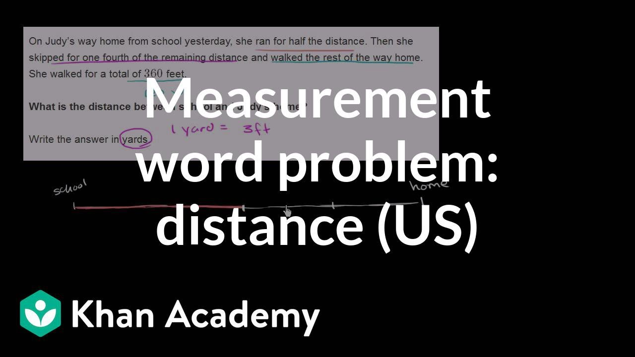 medium resolution of Measurement word problem: distance home (video)   Khan Academy