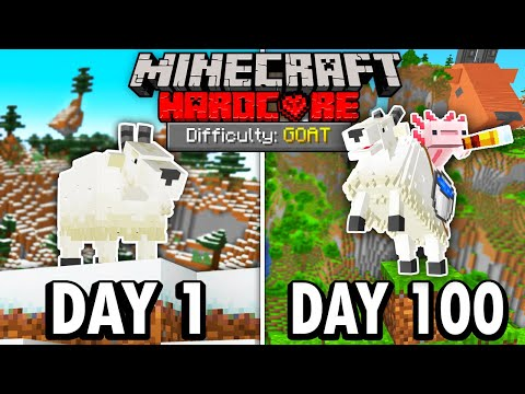 I Survived 100 Days as a GOAT in Hardcore Minecraft... Minecraft Hardcore 100 Days